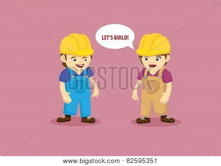 Building And Construction Workers Cartoon Characters