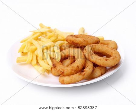 Onion rings on a white background