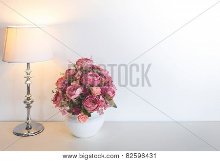 Flower with Lamp on table