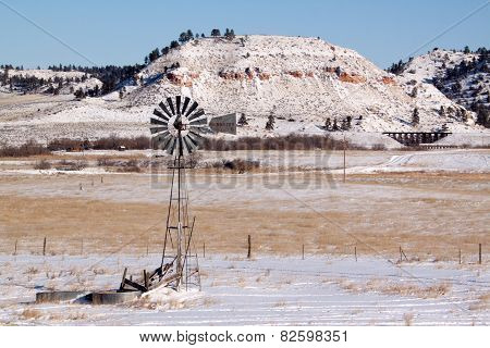 Old windmill in winter