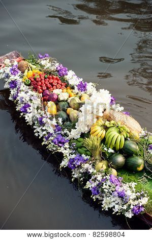 Flower With Boat For Show In Floating Market.
