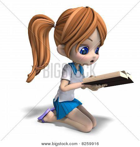 Linda niña de escuela de dibujos animados lee un