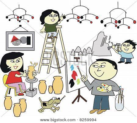 Asian family artist cartoon