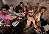 picture of lps  - Famous DJ crowded by fans and requests at a party - JPG