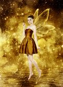picture of woman dragon  - Beautiful young brunette woman as golden fairy on lake  - JPG