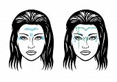 foto of wrinkled face  - Illustration scheme of mimic wrinkles and scheme of injection points on a woman
