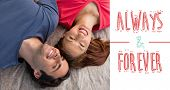 foto of  friends forever  - Two friends looking into the sky while lying on a quilt against always and forever - JPG