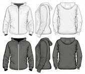 picture of hoodie  - Men zip hoodie white and black - JPG