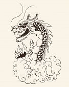 picture of dragon head  - Chinese dragon head and clouds - JPG