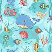 foto of whale-tail  - Seamless pattern with whale - JPG