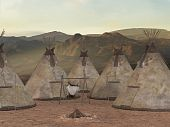 stock photo of teepee  - 3D Render of an Traditional teepee village - JPG
