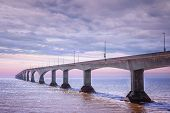 stock photo of confederation  - Sunset at Confederation Bridge from Borden - JPG