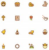 stock photo of golgotha  - Set of the Easter related icons - JPG