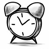 stock photo of analog clock  - Alarm clock doodle cartoon sketch vector illustration - JPG