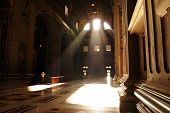 Rays Of Light Illuminating St Peter's Basilica Entrance