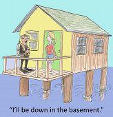 stock photo of basement  - Cartoon of scuba diving husband saying to wife - JPG