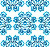 Постер, плакат: Seamless blue floral Polish folk art pattern wzory lowickie wycinanki