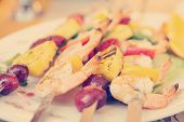 foto of creole  - Prawns grilled with fruits  - JPG