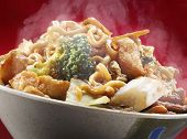 picture of chinese food  - A bowl of hot steaming yakisoba chinese food - JPG