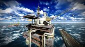 foto of rig  - Oil rig  platform at sunset - JPG