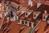 image of red roof tile  - Tourism and sightseeing view from above over red tile roofs of Prague - JPG