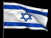 pic of israeli flag  - Waving Israeli flag isolated over black background - JPG