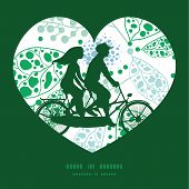 stock photo of tandem bicycle  - Vector abstract blue and green leaves couple on tandem bicycle heart silhouette frame pattern greeting card template graphic design - JPG
