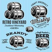 image of monochromatic  - set of vector patterns for monochromatic emblems with barrels - JPG