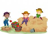 stock photo of stickman  - Illustration of Stickman Kids Playing With Hay and Apples - JPG