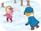 pic of snowball-fight  - Illustration of Kids in Winter Gear Having a Snowball Fight - JPG