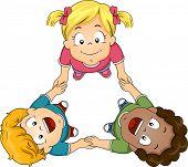 stock photo of huddle  - Illustration of Kids Huddling Together to Form a Circle - JPG