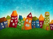 image of row houses  - Fantasy colorful houses in a row - JPG