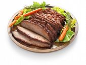 image of brisket  - barbecue beef brisket isolated on white background - JPG