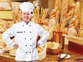 picture of bakeshop  - Mature professional chef man in modern restaurant - JPG