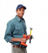pic of handyman  - Handyman isolated over white background - JPG