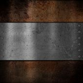 picture of emo  - Scratched metal plate on grunge background - JPG