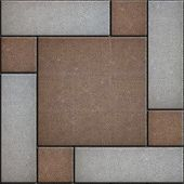 picture of paving  - Brown Square Paved with Small Square Corners and Gray Rectangles - JPG