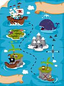 picture of treasure map  - An Illustration Of A Detailed Treasure Map with Clipping Path - JPG