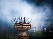 pic of vihara  - Incense sticks burning in front of Temple of the Tooth - JPG