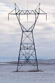 stock photo of power transmission lines  - A line of high - JPG