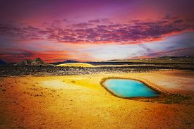 foto of magma  - Viti is a beautiful crater lake of a turquoise color located on the North - JPG
