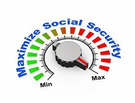 stock photo of social system  - 3d illustration of knob set at maximum for social security - JPG