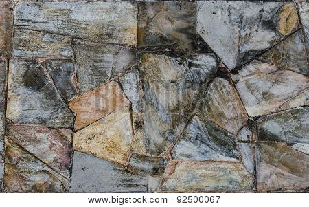 Background Of Slate Stone Wall Surface