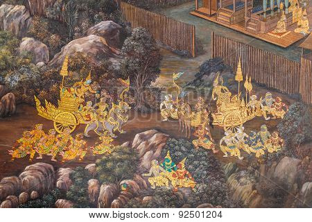 Mural Paintings at Wat Phrakaew in Bangkok, Thailand