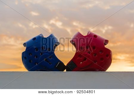Red and Blue Taekwondo head guard