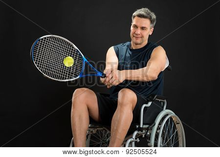 Disabled Player Playing Tennis
