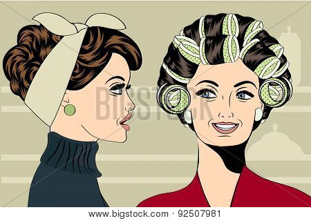 Woman With Curlers In Their Hair Talking With Her Friend