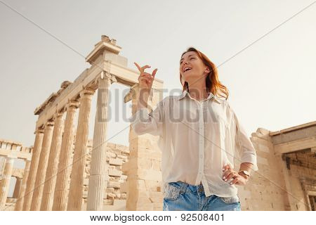 The tourist near the Acropolis of Athens, Greece