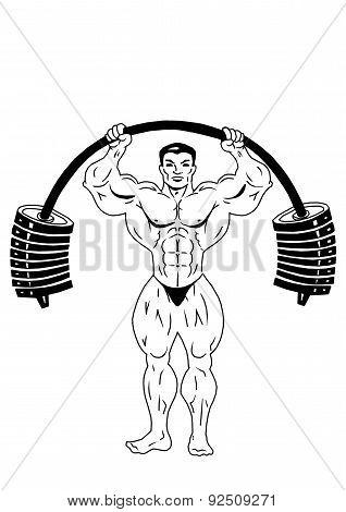 bodybuilder workout with big weights