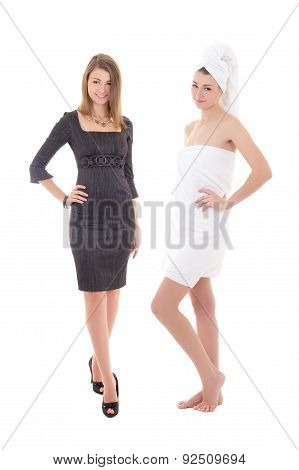 Morning, After Shower Concept - Slim Woman In Towel And Dress Isolated On White